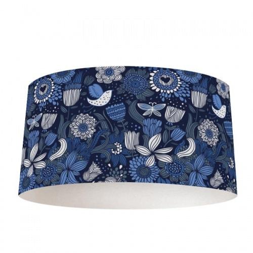 Lampenkap Blauwe bloemen patroon