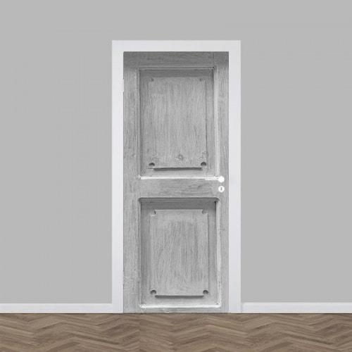 Deursticker grijs hout patroon 2