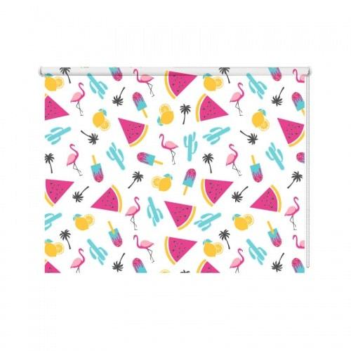 Rolgordijn flamingo patroon 5