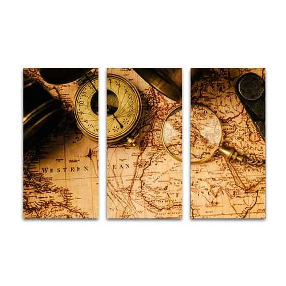 drieluik canvas vintage kaart navigatie