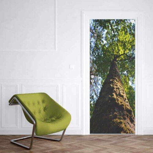 Deursticker boom met mos