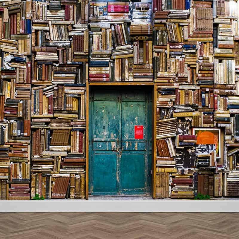 Fotobehang in de bibliotheek gratis drukproef - Muur bibliotheek ...