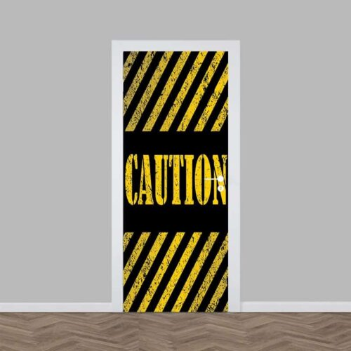 Deursticker Caution