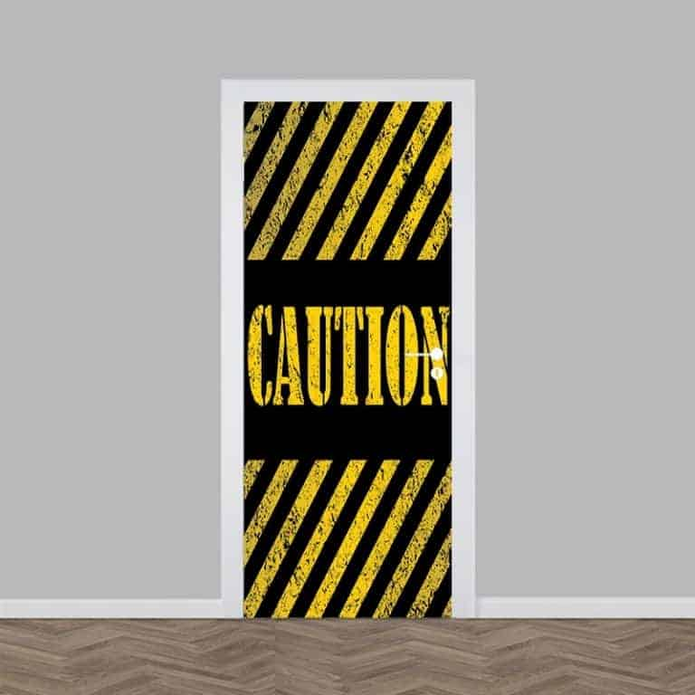 Deursticker Caution