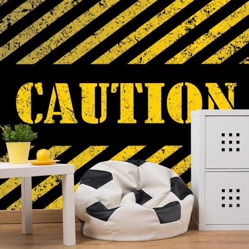 Fotobehang caution