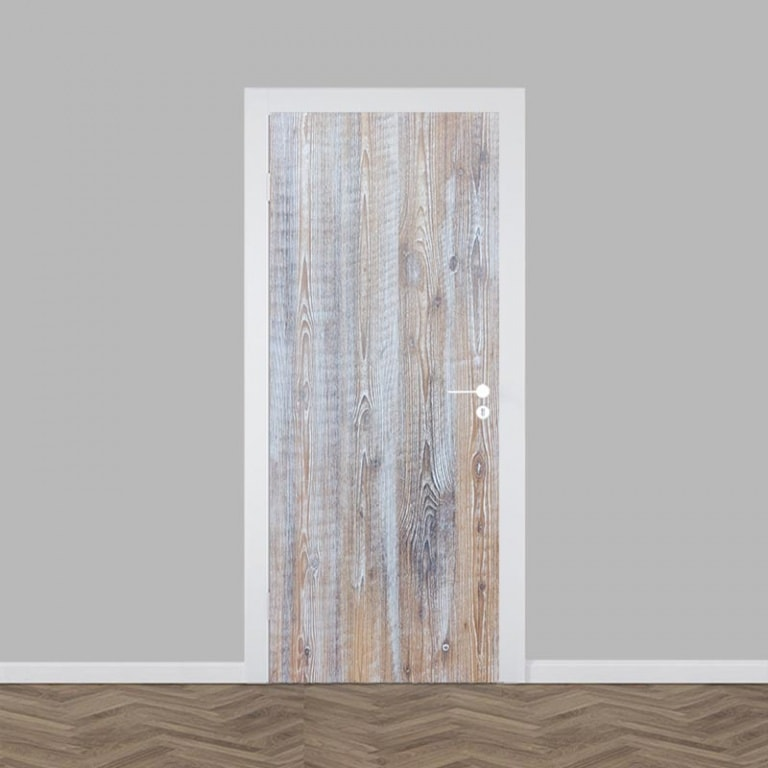 Deursticker white wash hout