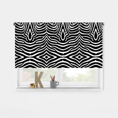 918 Rolgordijn zebra patroon zwartwit