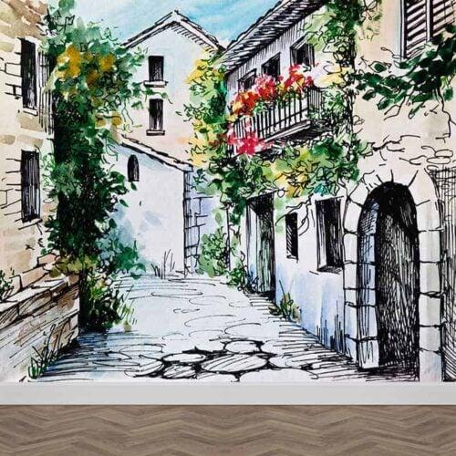 Fotobehang aquarel straatje