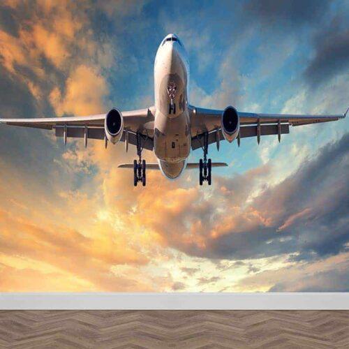 Fotobehang vliegtuig in avondschemer