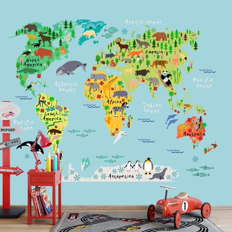Fotobehang Dieren wereldkaart kleur1