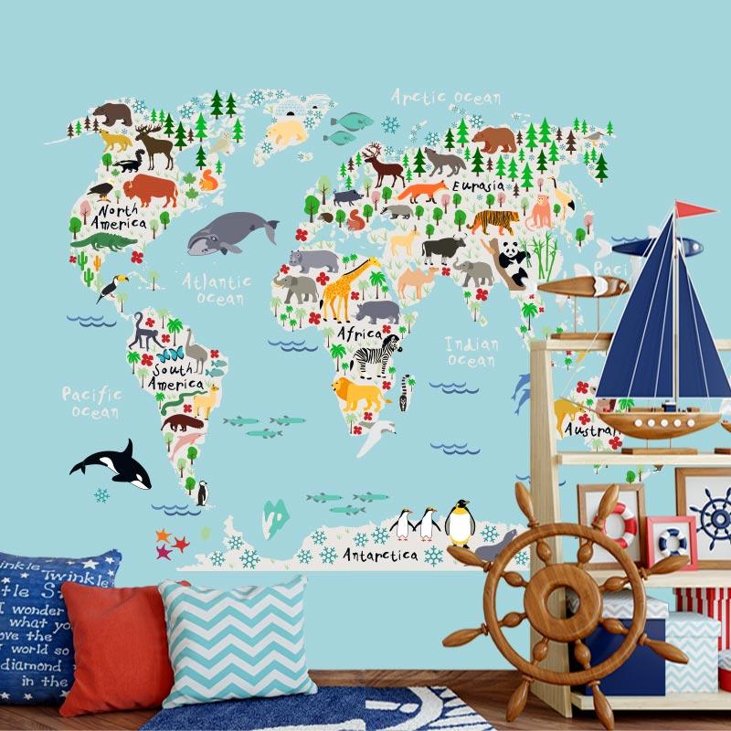 Fotobehang Dieren wereldkaart kleur2