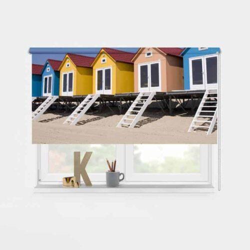 rolgordijn strandhuisjes