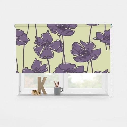 Rolgordijn paarse bloemen patroon