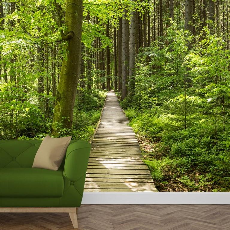Fotobehang op het bospad