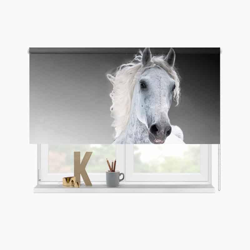 Rolgordijn rennend paard wit