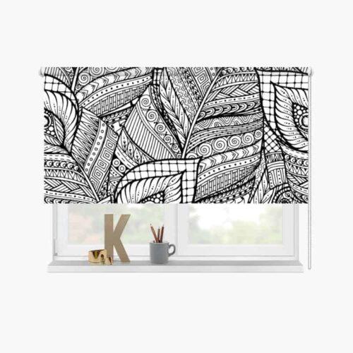 Rolgordijn getekend patroon zwartwit