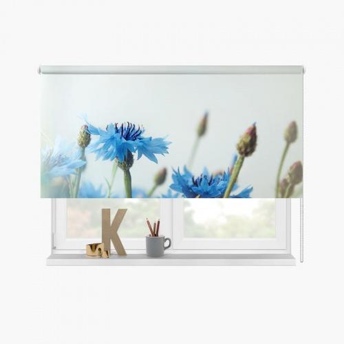 Rolgordijn Blauwe bloemen vintage