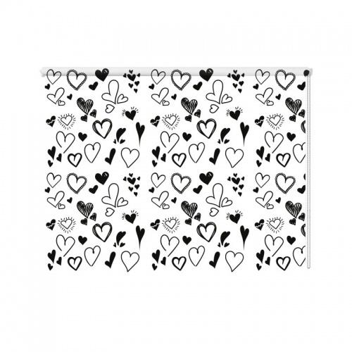Rolgordijn Hartjes getekend patroon