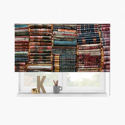 Rolgordijn Boekenwurm