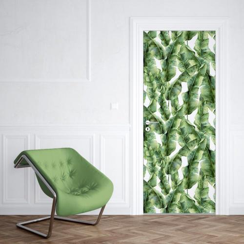 Deursticker Tropische bladeren patroon 5