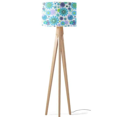 Lampenkap bloemen patroon paars blauw