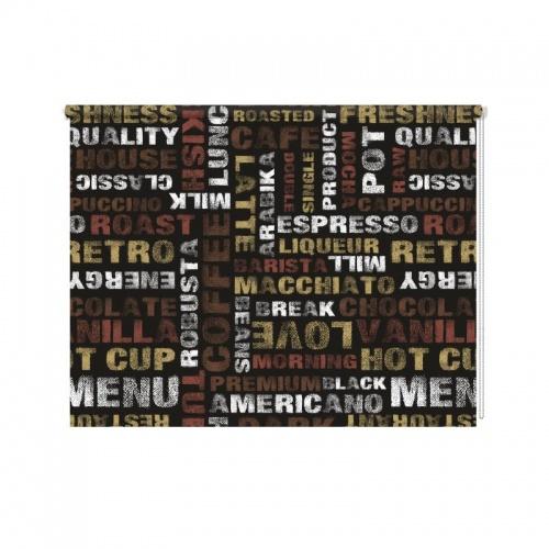 Rolgordijn Koffie letters patroon