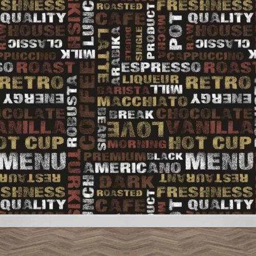 Fotobehang-Koffie-letters-patroon