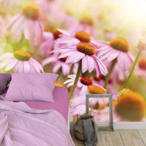 Fotobehang Vintage roze zonnehoed