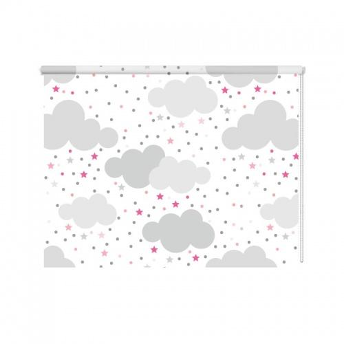 Rolgordijn Wolkjes en roze sterretjes