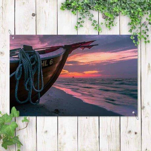 Tuinposter boot op het strand