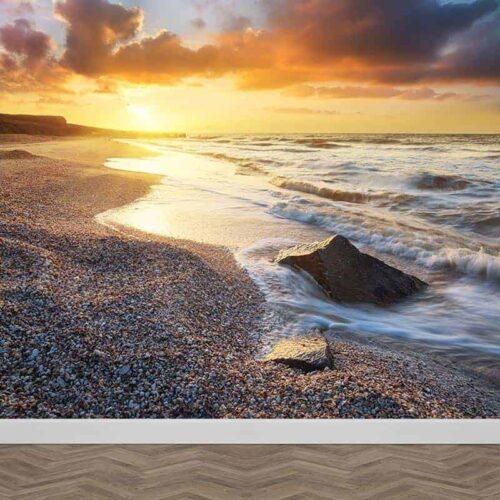 Fotobehang Avondschemer aan de kust