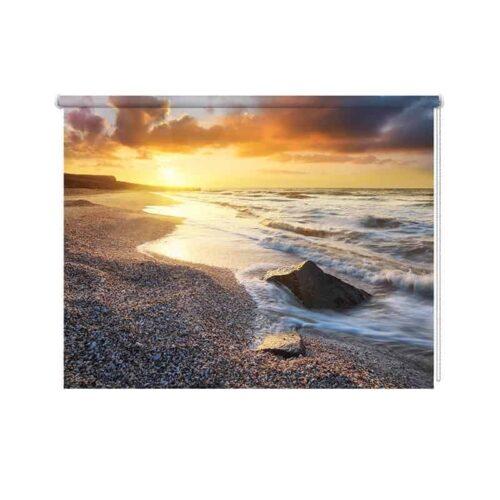 Rolgordijn Avondschemer aan de kust