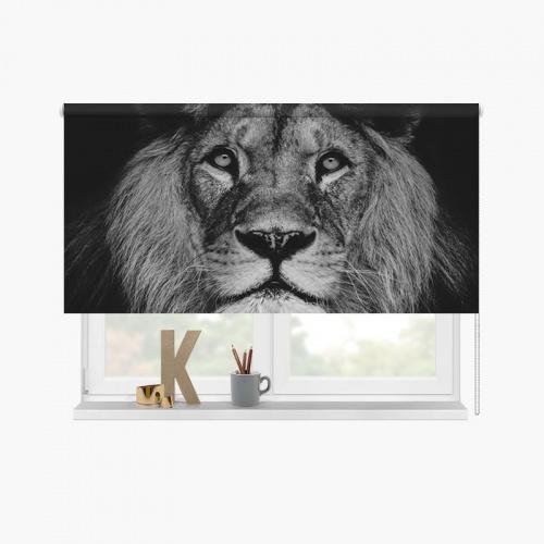 Rolgordijn Leeuwenkop zwartwit