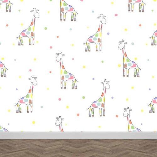 Fotobehang Girafjes patroon pastel