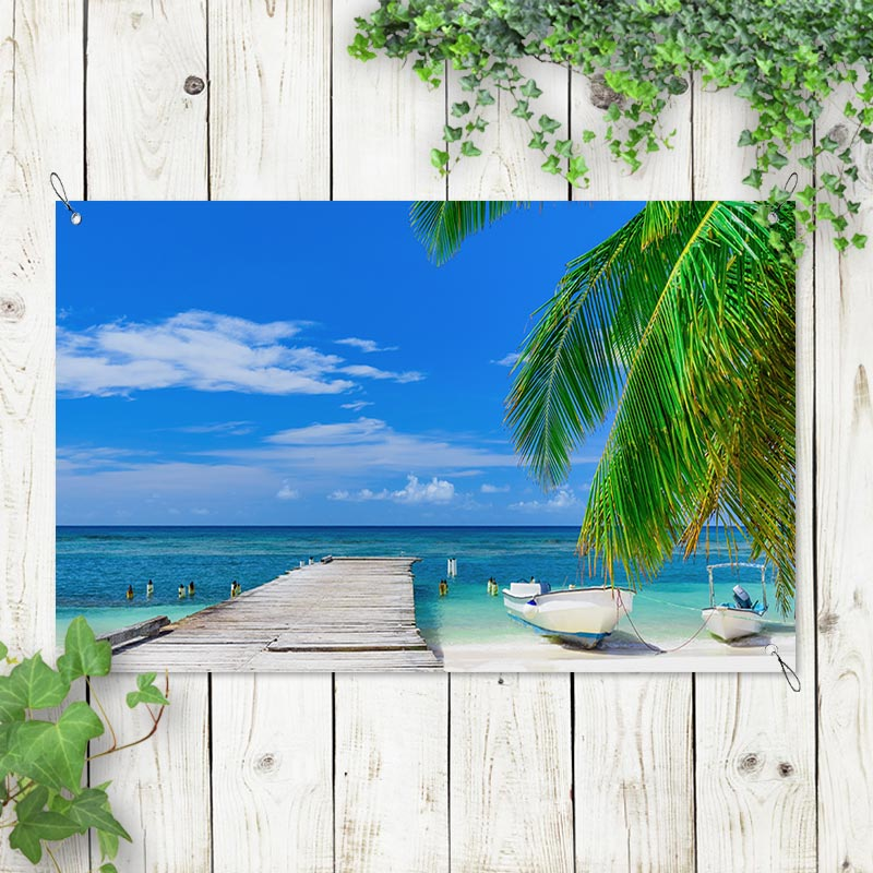Tuinposter Steiger op het strand