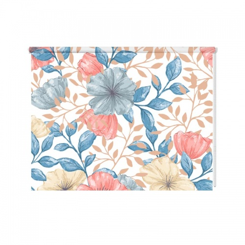 Rolgordijn Heldere bloemen patroon