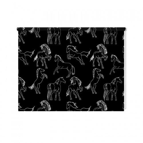 Rolgordijn Getekende paarden patroon