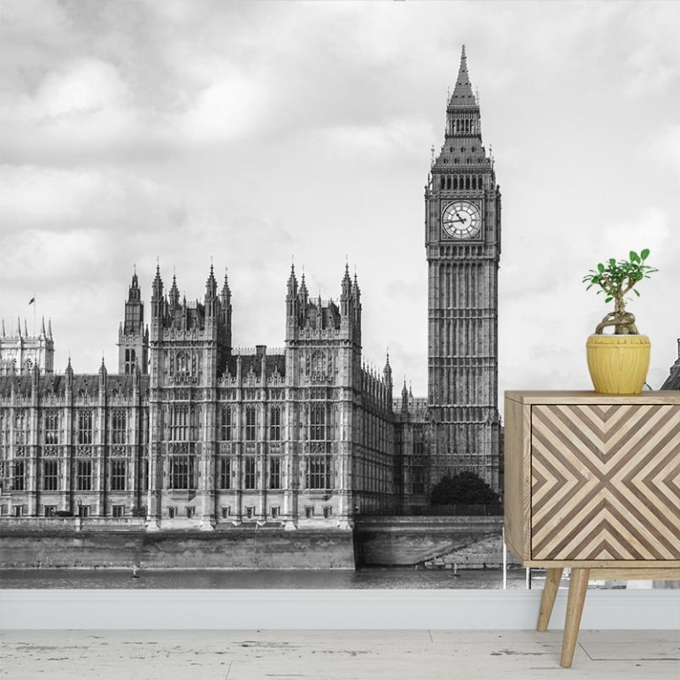 Fotobehang London city zwartwit