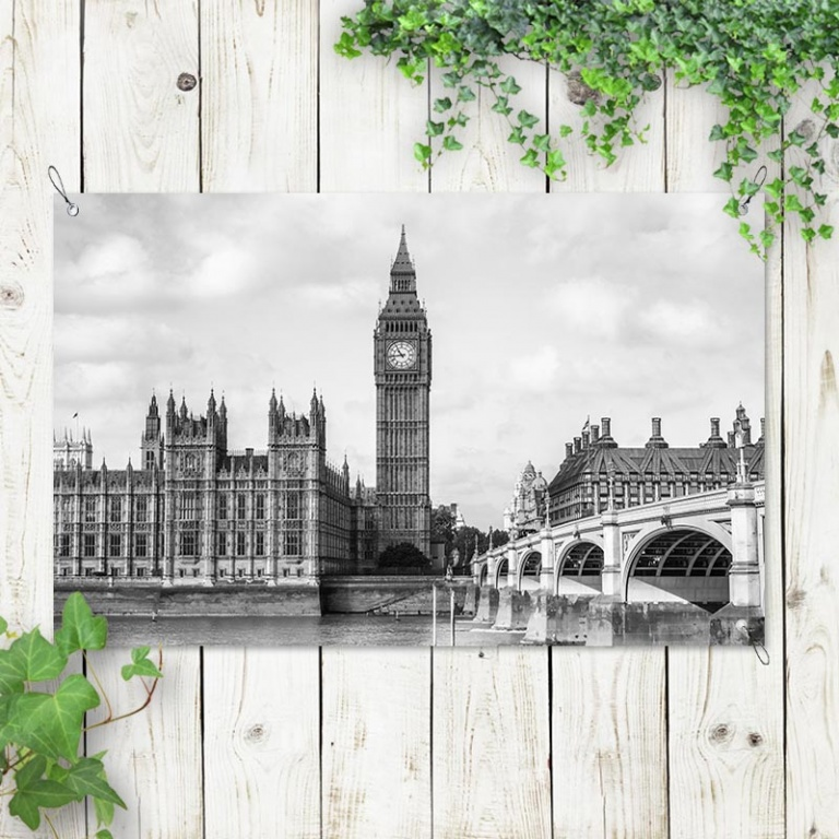 tuinposter London city zwart-wit