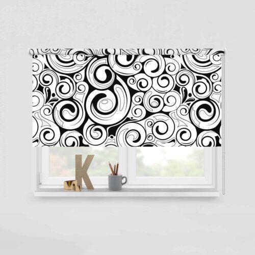 Rolgordijn-Curly-retro-patroon-zwartwit