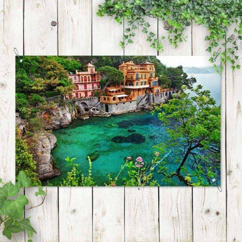 Tuinposter Italiaans dorp aan zee