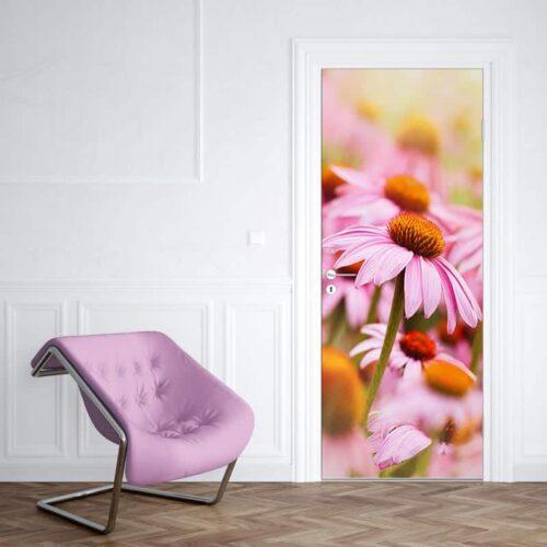 Deursticker Vintage roze zonnehoed