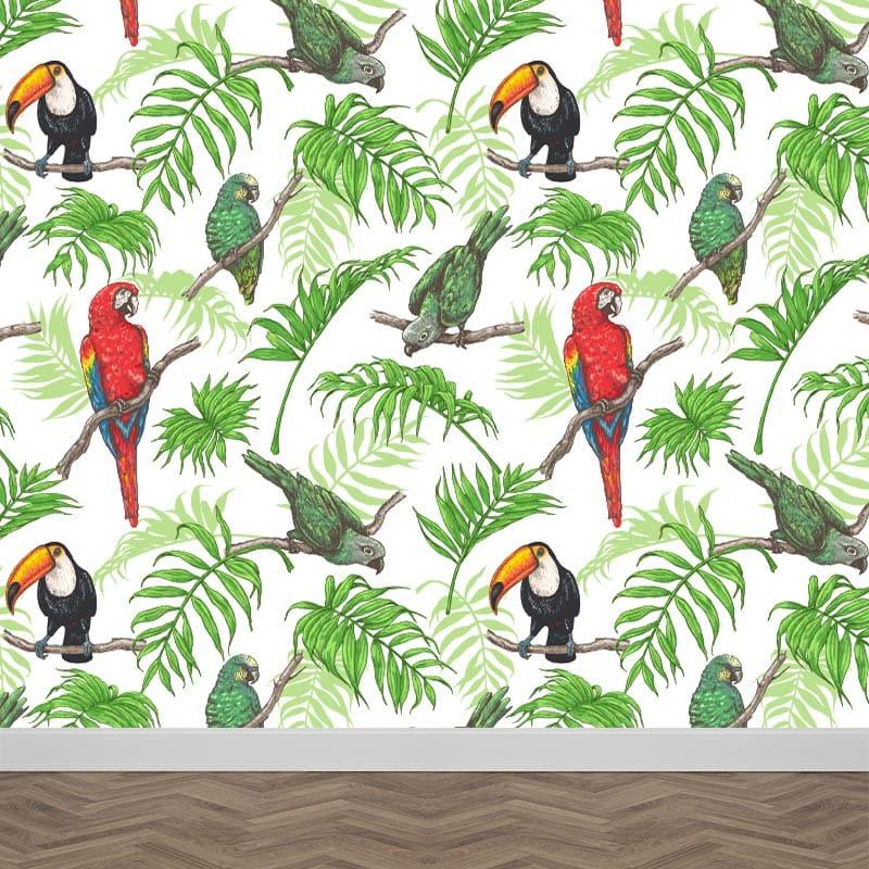 Fotobehang Papegaaien patroon 3