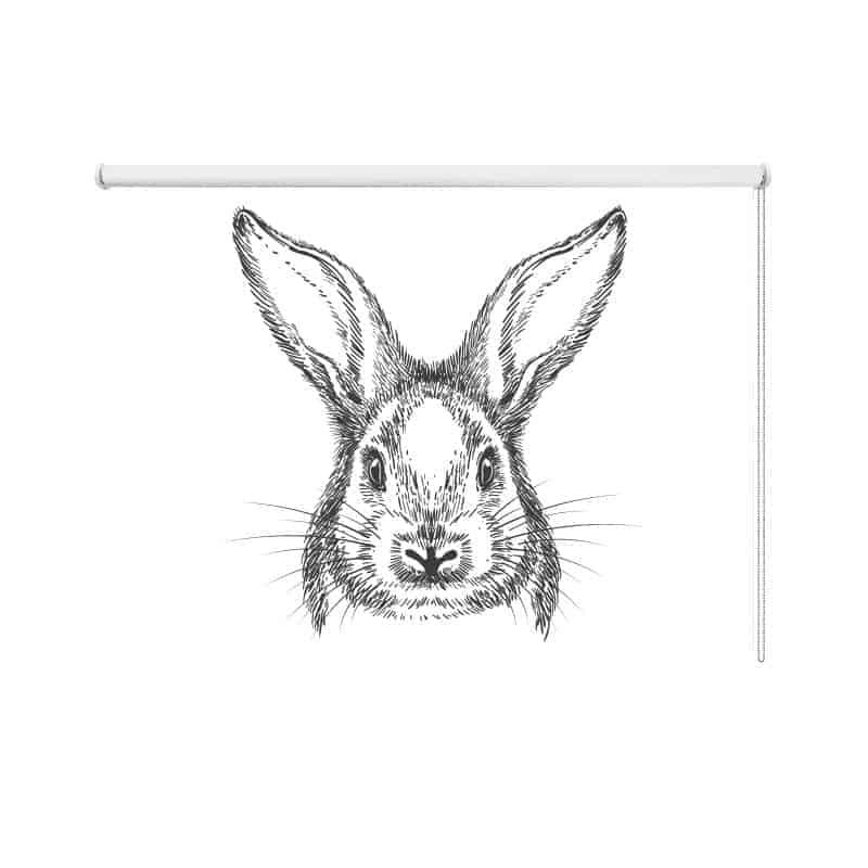 Rolgordijn Getekend konijn