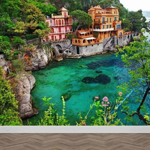 fotobehang i Italiaans dorpje aan Middellandse zee