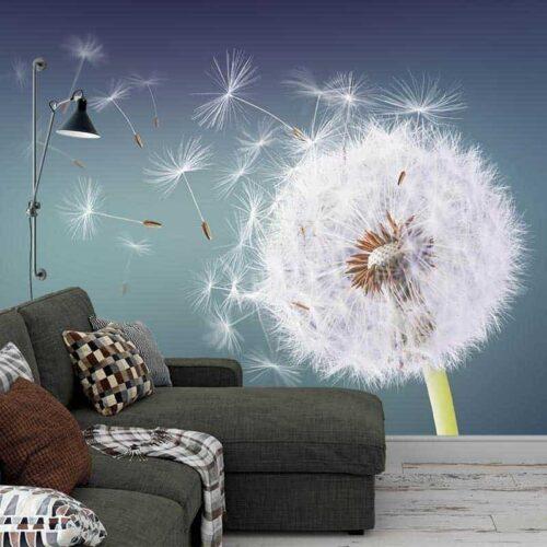 Fotobehang Dandelion in de wind