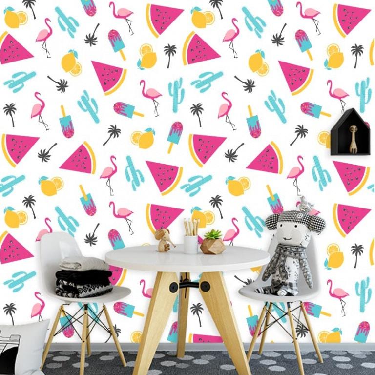 Fotobehang Flamingo patroon 5