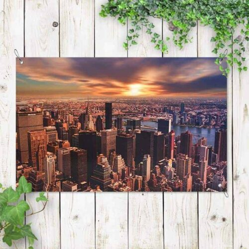 Tuinposter Sunset city