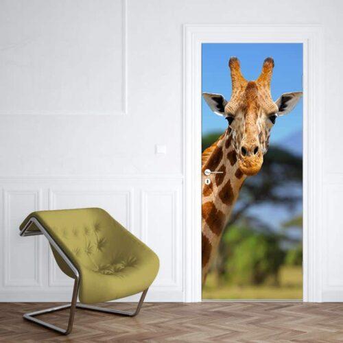 Deursticker giraf voor Kilimanjaro