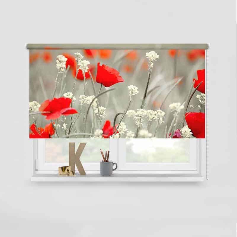 Rolgordijn Papaverveld rood grijs wit
